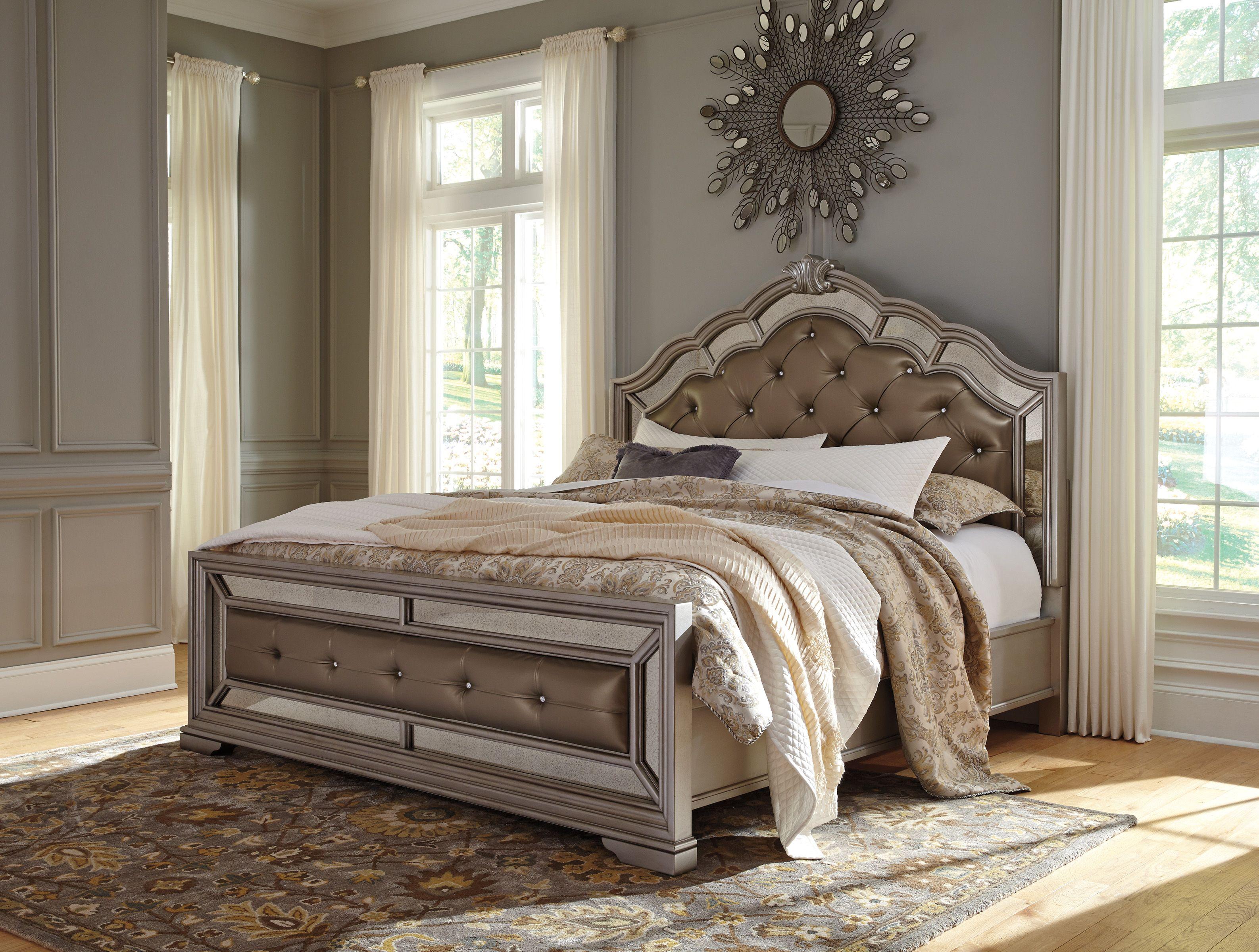 Queen Upholstered Panel Bed  JR Furniture  King upholstered bed