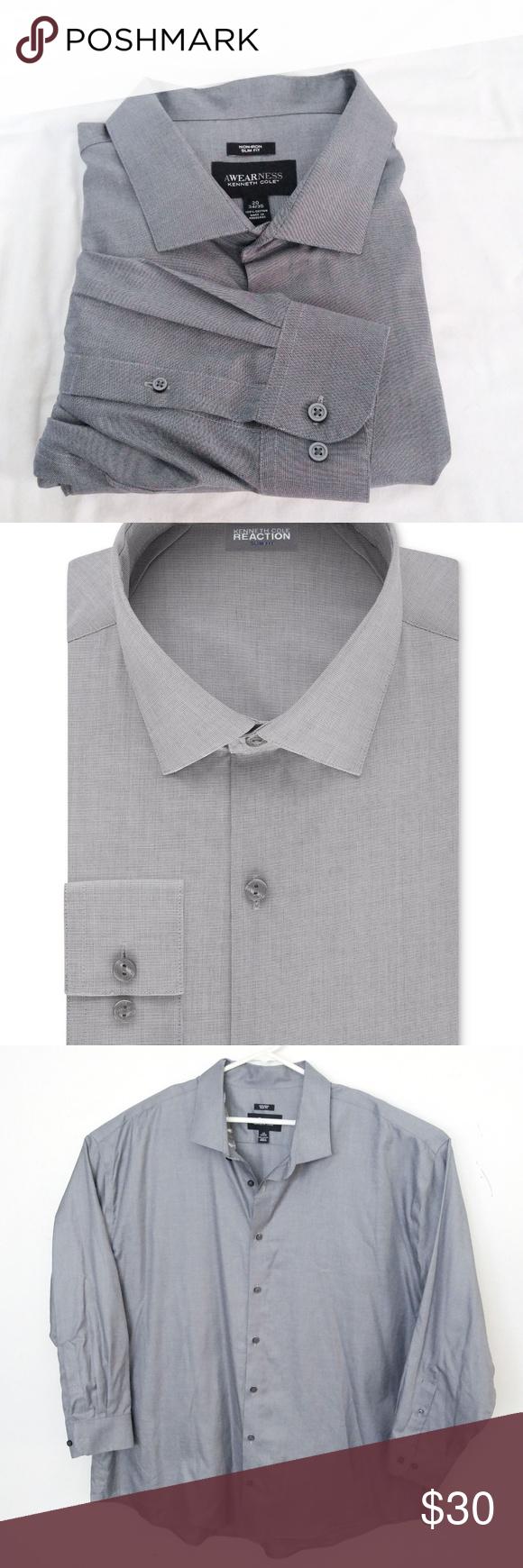 Kenneth Cole Reaction Slim Fit Dress Shirt Sz 20 In 2018 My Posh