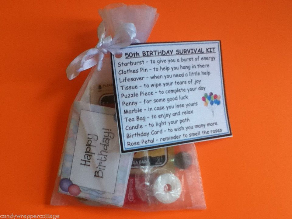 50th Birthday Gift Fun Novelty Survival Kit Card Organza Bag