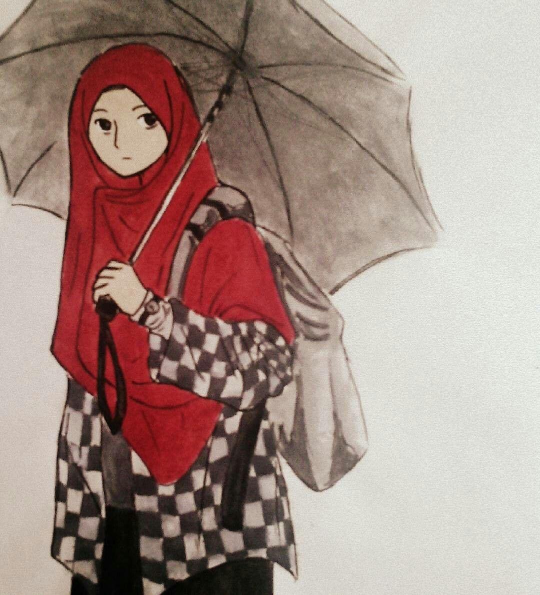 Pin oleh س di Muslim anime Kartun, Ilustrasi lucu