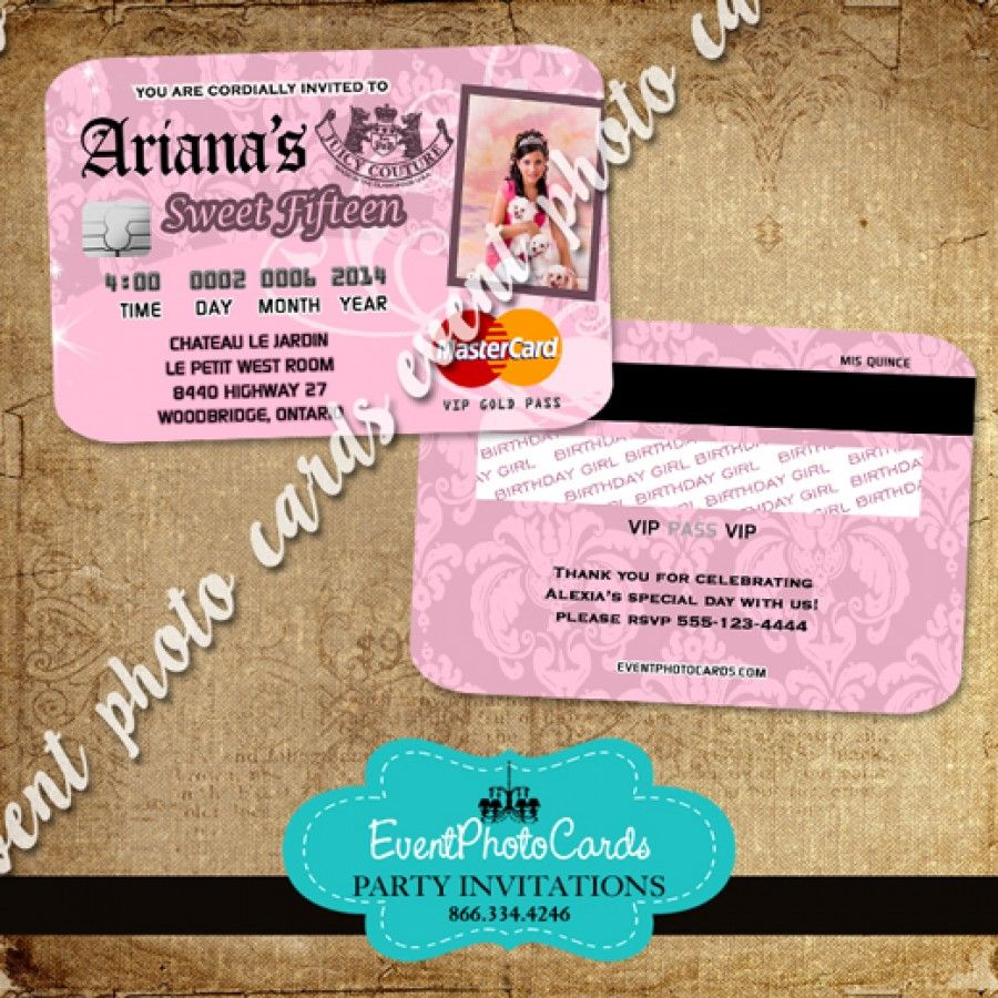 Juicy Couture Party Card Invitations , Plastic Card Credit Invites ...