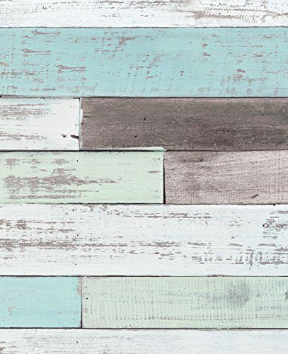 Reclaimed Painted Beach Wood Mural Wall Art Wallpaper Peel And Stick By Simple Shapes 5 Sheet Pack Beach Wood Peel And Stick Wallpaper Beach Signs