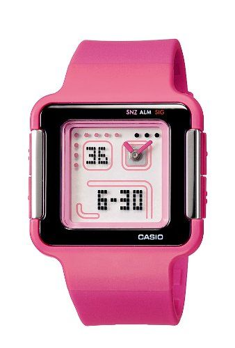 b0496dc5a601 Casio LCF-21-4DR - Reloj analógico y digital de cuarzo para mujer con  correa resina color rosa