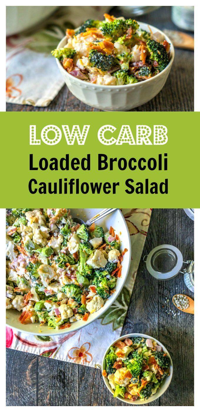 Low Carb Loaded Broccoli Cauliflower Salad Recipe Low Carb