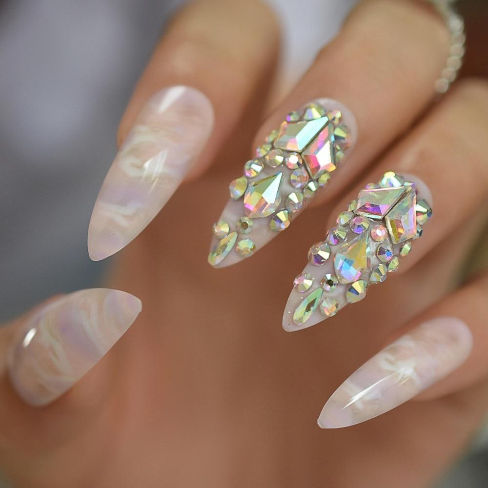 3d Luxe Bling Glitter French Stiletto Xlong In 2020 Bling Nails Summer Stiletto Nails Stiletto Nails