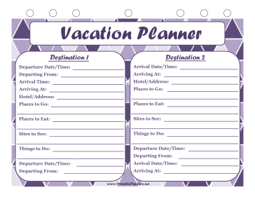 Vacation Planner Multiple Destinations Vacation Planner Travel Journal Printables Vacation