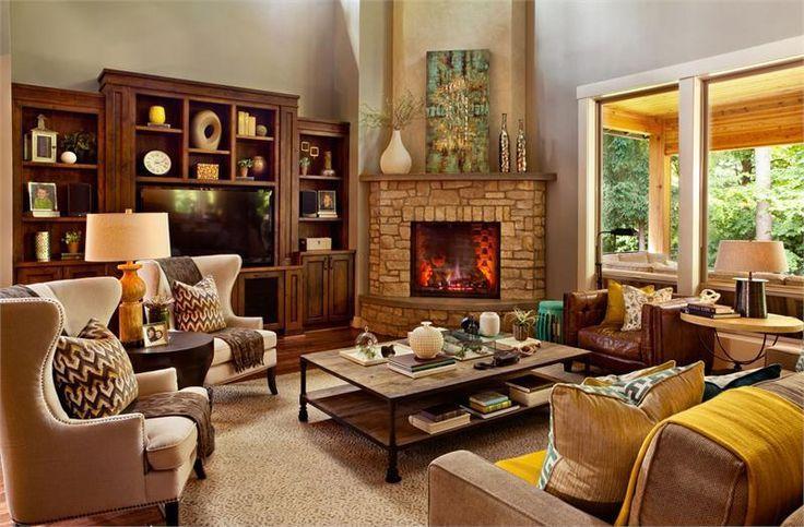 Decorating Around A Corner Fireplace Garrison Hulliger Interior Design Via Houzz Corner Firepl Living Room With Fireplace Livingroom Layout Cozy Living Rooms