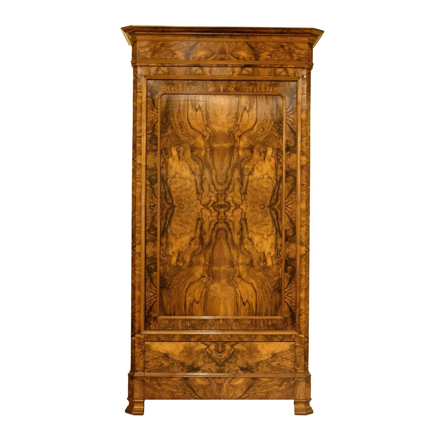 Period Louis Philippe Bonnetiere Or Armoire Of Bookmatched Burl