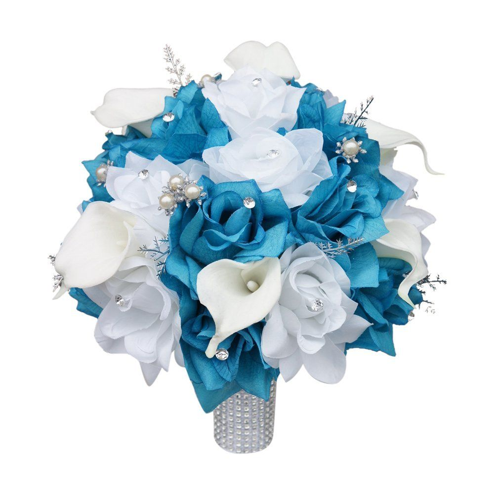 Blingsilver turquoise malibu and white roses with calla lily