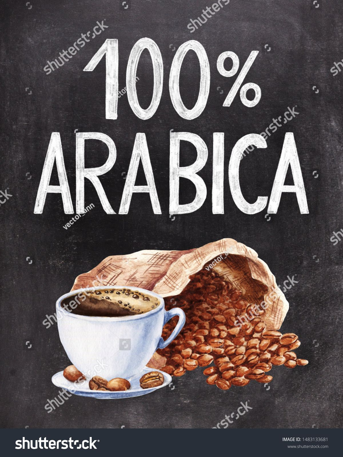 100 Arabica chalk hand lettering on black chalkboard background with coffee cup and sack of beans illustration Vintage food design