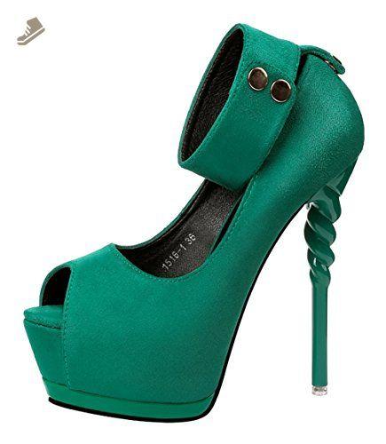 03f340d6ddd3e T&Grade Women Fashion Peep Toe Slip On Ankle Belt Platform Thin High ...