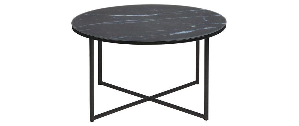 Table Basse Ronde Effet Marbre Noir Bleute D80 Cm Alcino Miliboo Table Basse Ronde Table Basse Ronde En Verre Table Basse