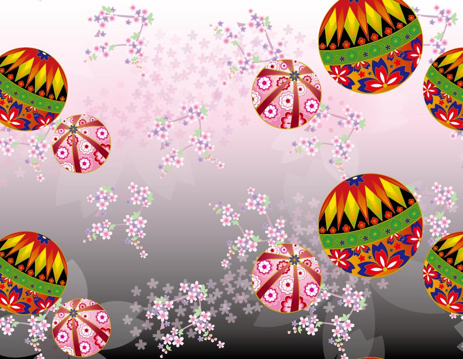 フリーイラスト 手鞠と桜の花の和柄背景 Japanese Patterns 和の文様