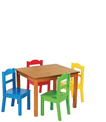 Tot Tutors Dark Pine Table And 4 Primary Colored Chair Set Small Table And Chairs Table And Chair Sets Toddler Table
