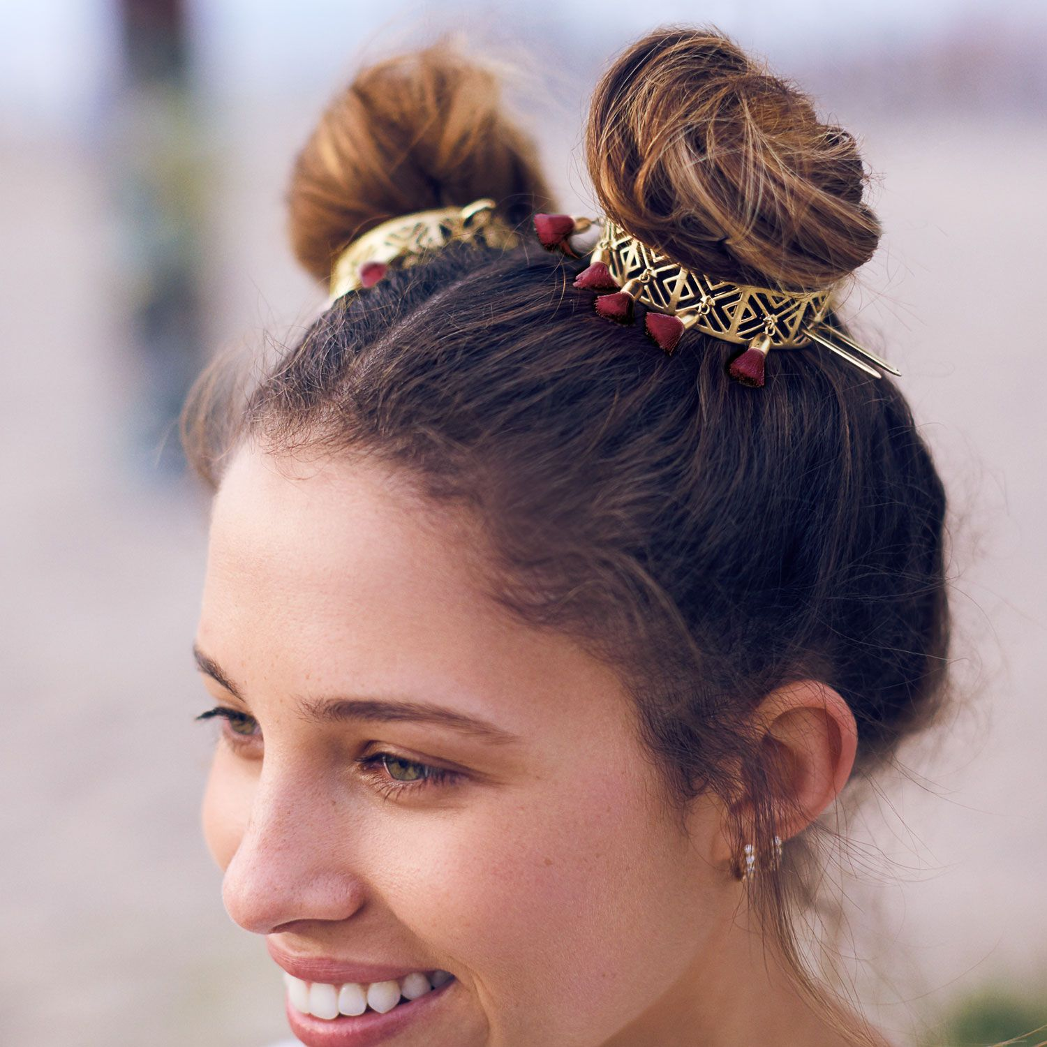 Upgrade Your Out Of This World Space Buns With Our Burgundy Tassel Bun Cuff Boho Hairstyles Hair Accessories Boho Bun Hairstyles