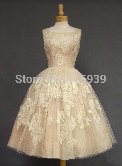 Retro 1950 Vintage Csatle Wedding Dress Champagne Color Tea Length Lace Applique Women Wear Bridal Gown F Beautiful Dresses Pretty Dresses 1950s Cocktail Dress