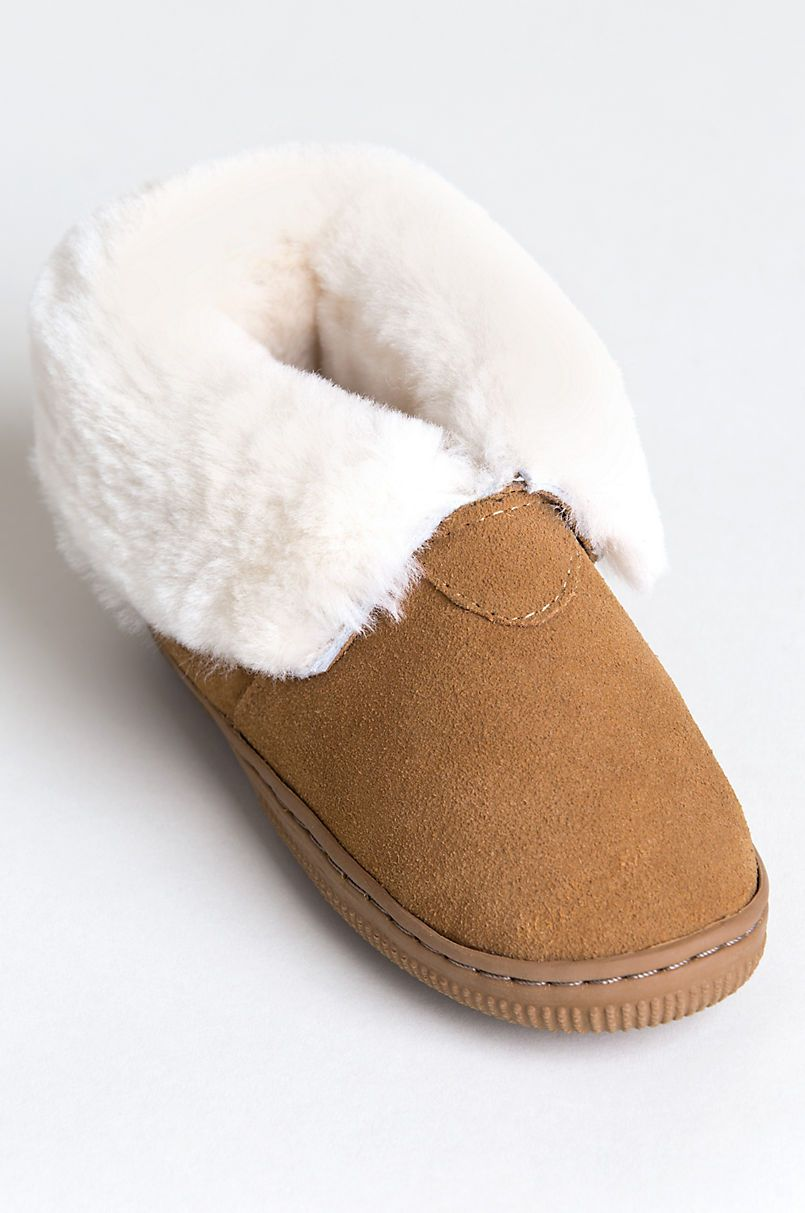 5d54fed72b9d Children s Shearling-Lined Suede Slipper Booties