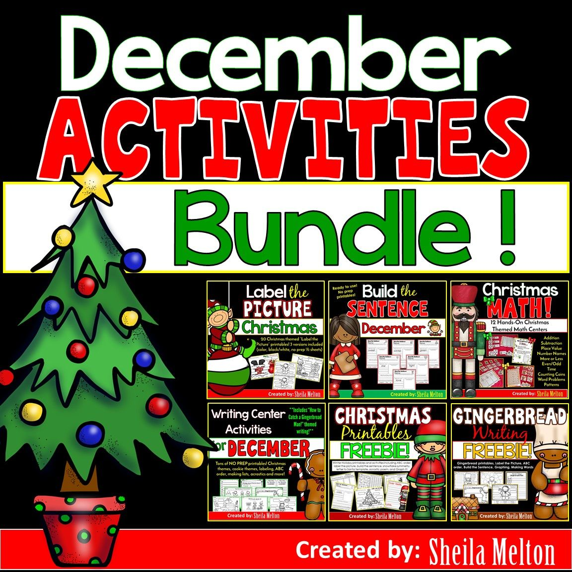 Christmas And December Bundle Math Writing Labeling