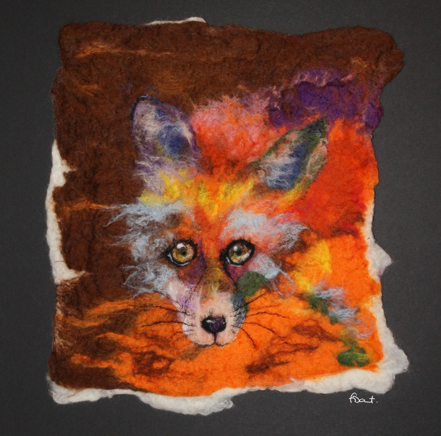 "The Impossible Fox, unique felted fox picture, mounted ready to frame, 15"" x 15"" by GardenGalleryDerbys on Etsy"