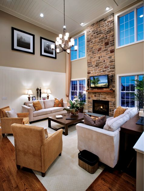 Toll brothers 2 story family room interior design ideas Two story living room decorating ideas