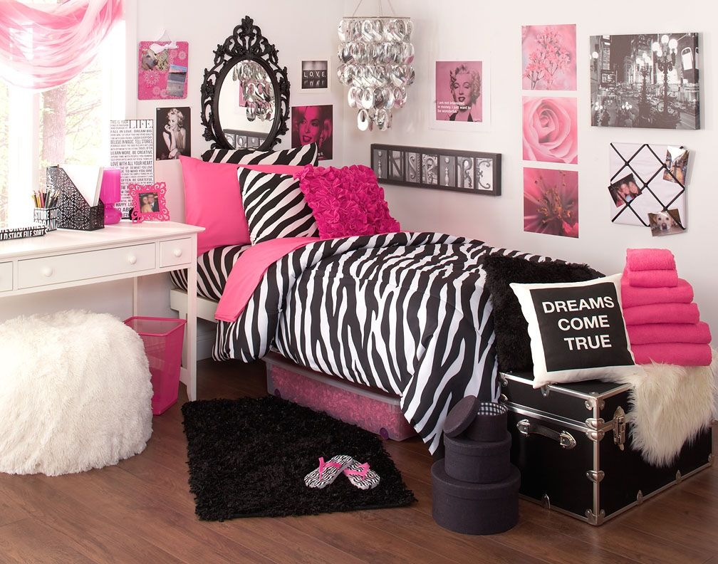 Bedroom Great And Smart Concept Of Modern College Dorm Ideas Deep Pink Stripes Black White Zebra Bedding Set The Room Idea