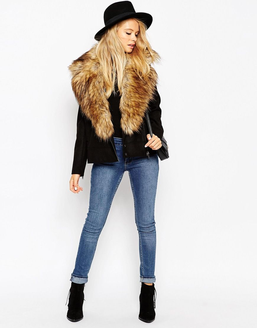 0cf7698bbcfdc Image 4 of ASOS Biker Jacket with Oversized Faux Fur Collar ...