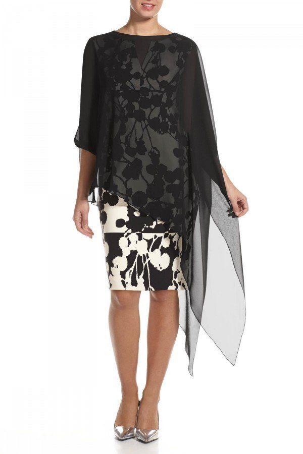 c1f0c8f33607 Asymmetric Hem Chiffon Poncho Shawl | La Toile⭐ | Dress outfits ...