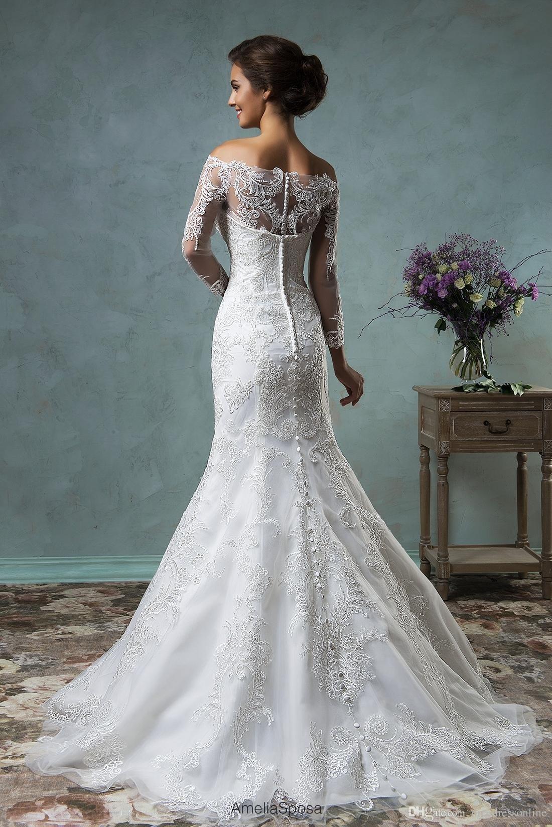Detachable skirt wedding dress  Amelia Sposa  Sexy Muslim Wedding Dresses with Removable Skirt