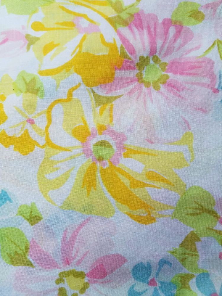 full size flat sheet vintage pequot pink roses blue yellow floral
