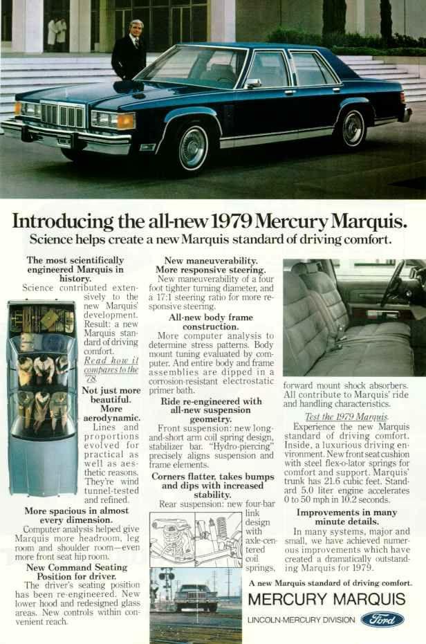 1979 Mercury Marquis Four Door Sedan Mercury Marquis Car Advertising Automobile Advertising