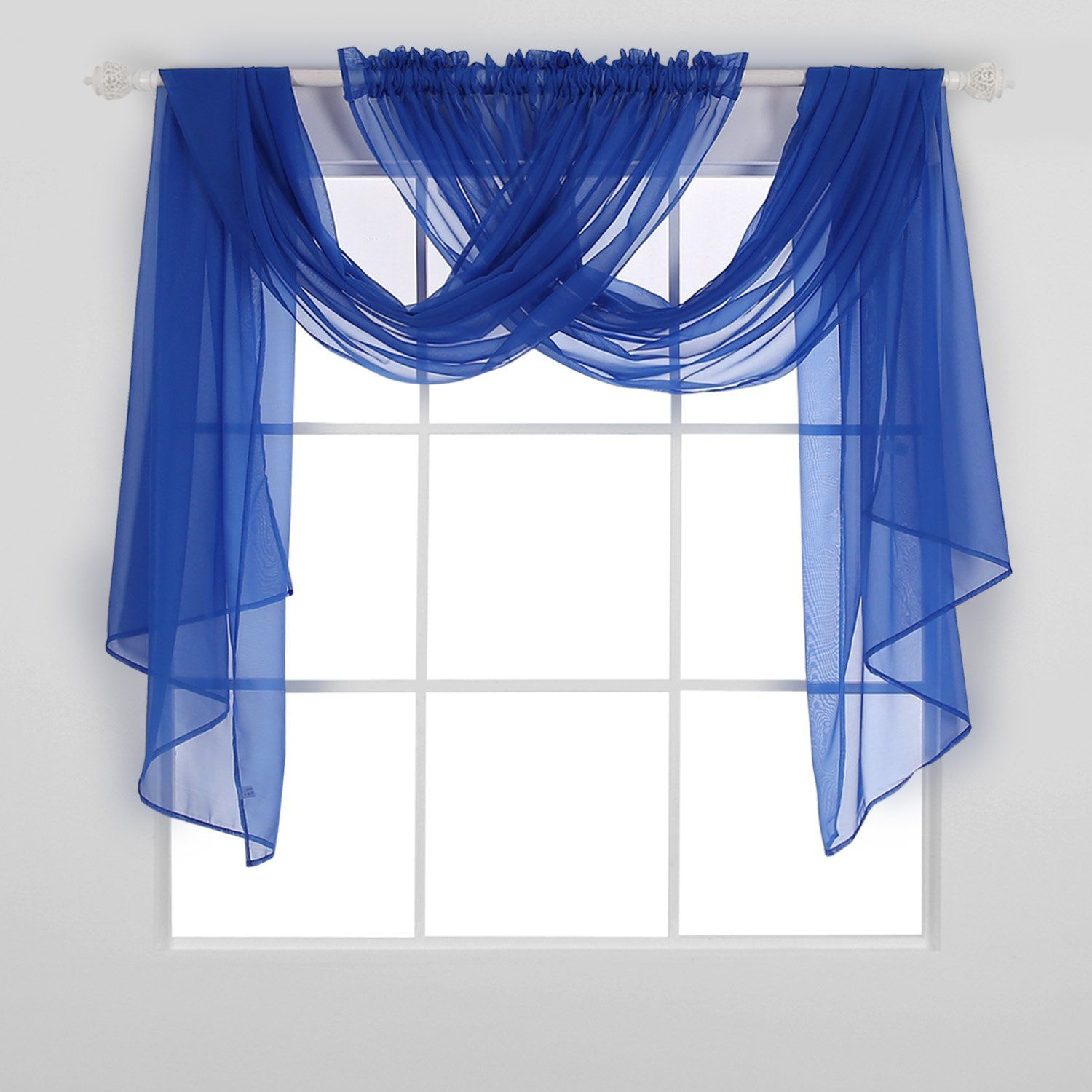Deconovo Crinkled Voile Draperies Sheer Window Curtains Rod Pocket