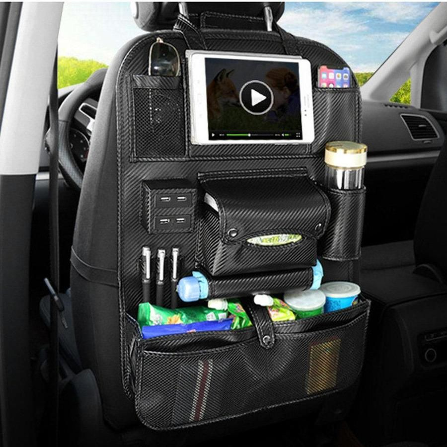 Multifunctional Leather Car Seat Back Storage with USB