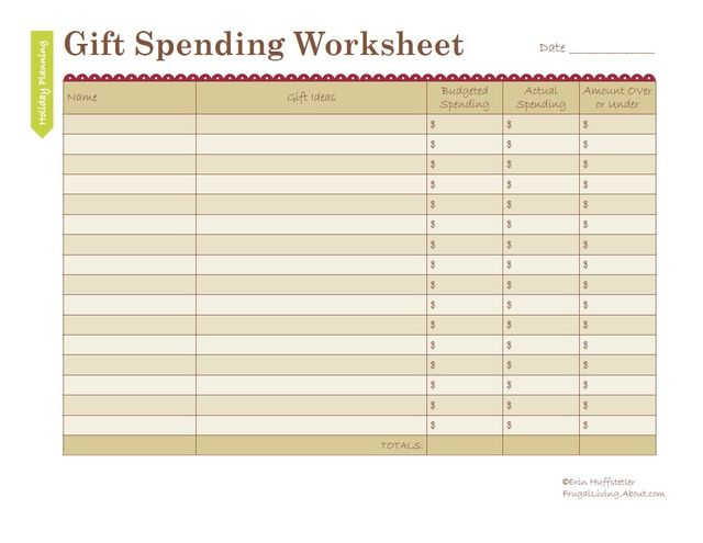 Free Holiday Gift Budget Worksheet Household notebook and Household