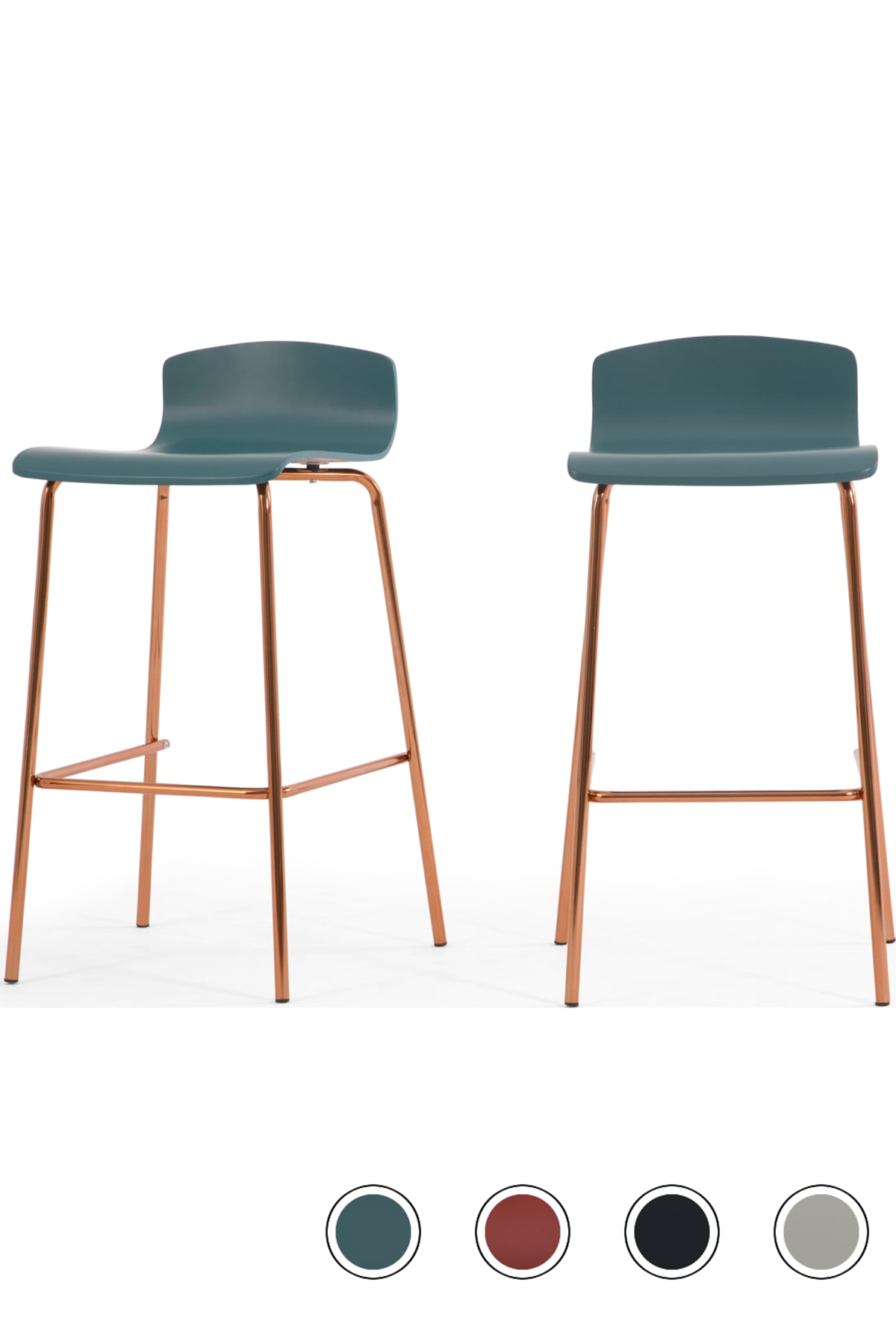 Set Of 2 Syrus Barstools Teal And Copper Bar Stools Copper Bar