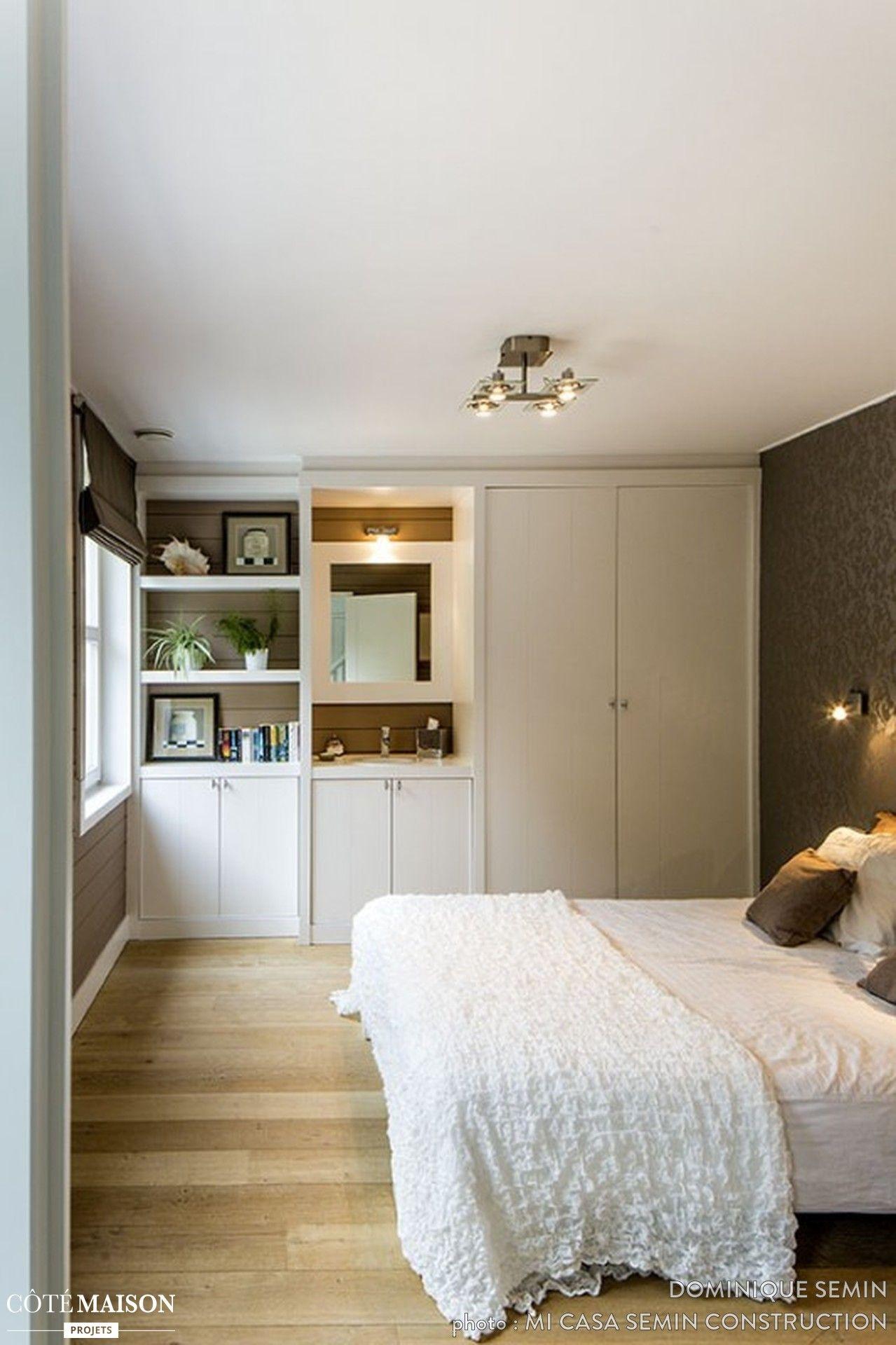 Chambre  coucher classique Lit blanc Rangements quasi