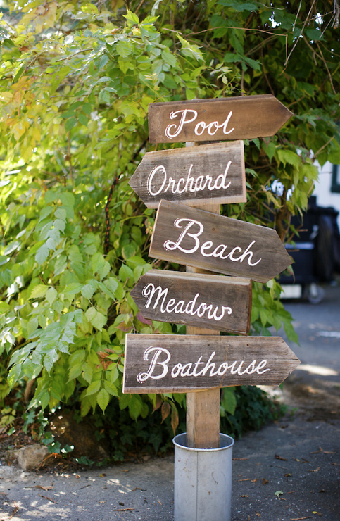 Reclaimed Wood Directional Sign Beach Signs Garden Signs Reception Signage