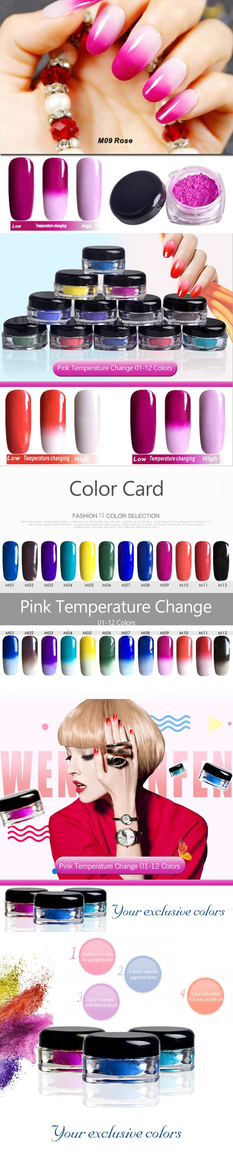 Temperature Color Change Nail Glitter Powder Chrome Bling Chameleon ...