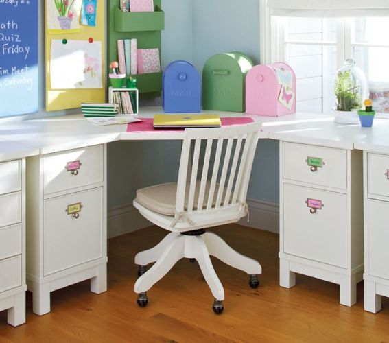 Kids Room Study Table: White-Kids-Corner-Study-Desk