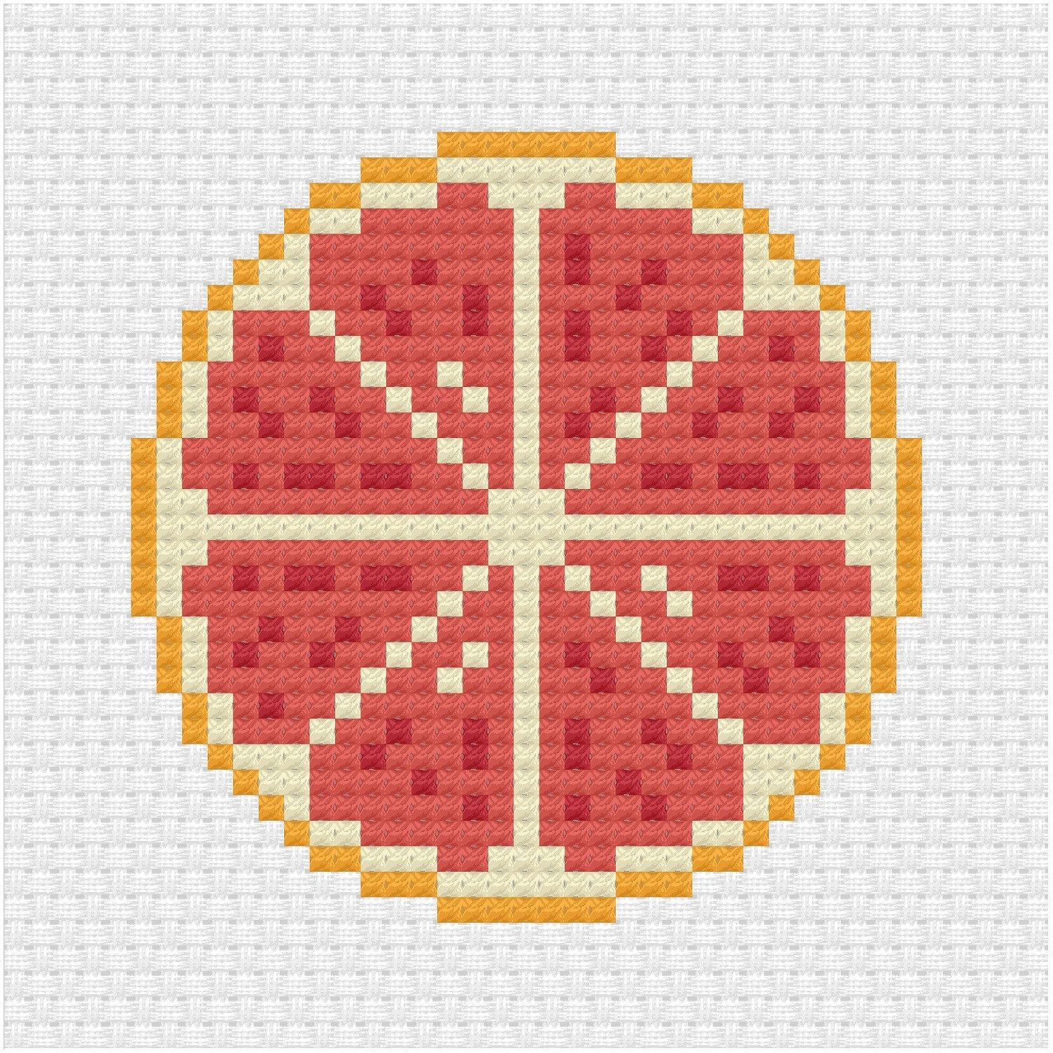 Photo of The final sliced fruit citrus pattern using the lemon cross stitch pattern from …