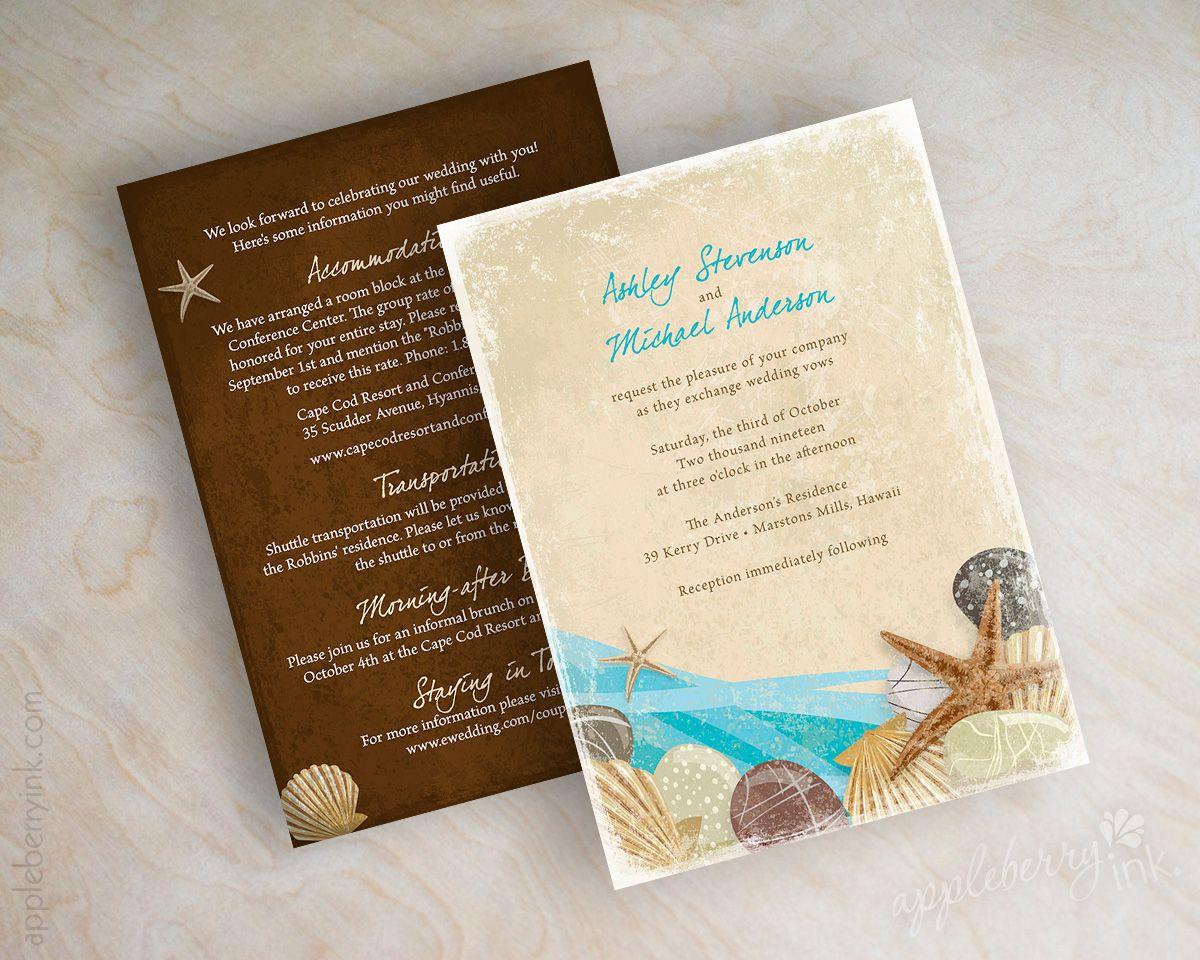 Beach, destination, starfish wedding invitations, wedding invites ...