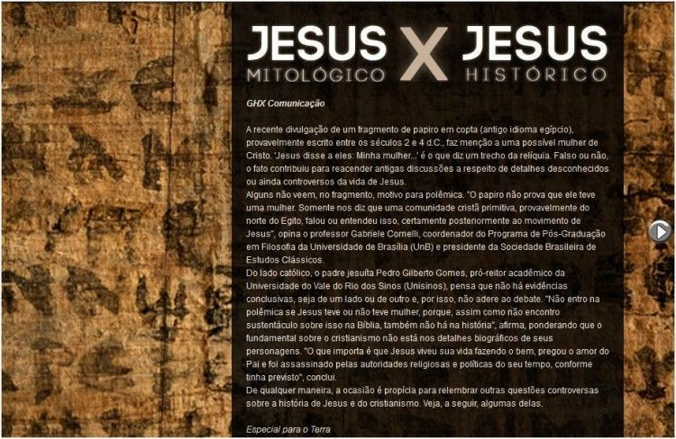 Jesus Mitologico vs Jesus Histórico [Interativo]