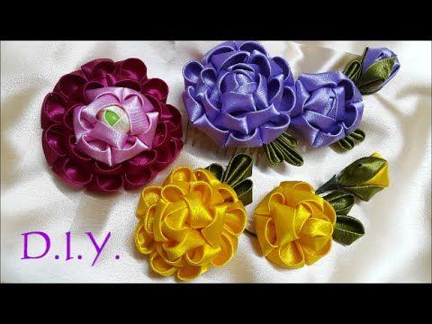 ✾ ❀ ❁ D.I.Y. Kanzashi Ranunculus Flower - Tutorial ✾ ❀ ❁ - YouTube