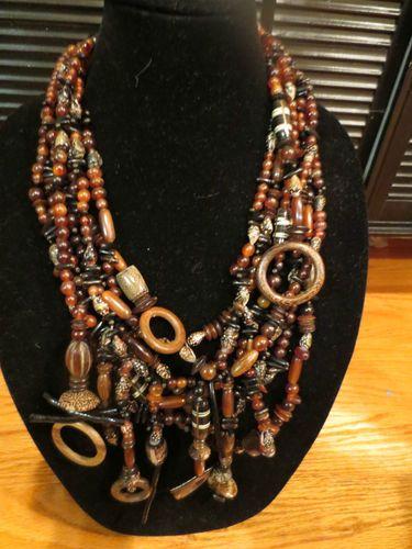 Gerda Lynggaard MONIES RARE Hand Carved Horn Wood Shells Runway Necklace | eBay