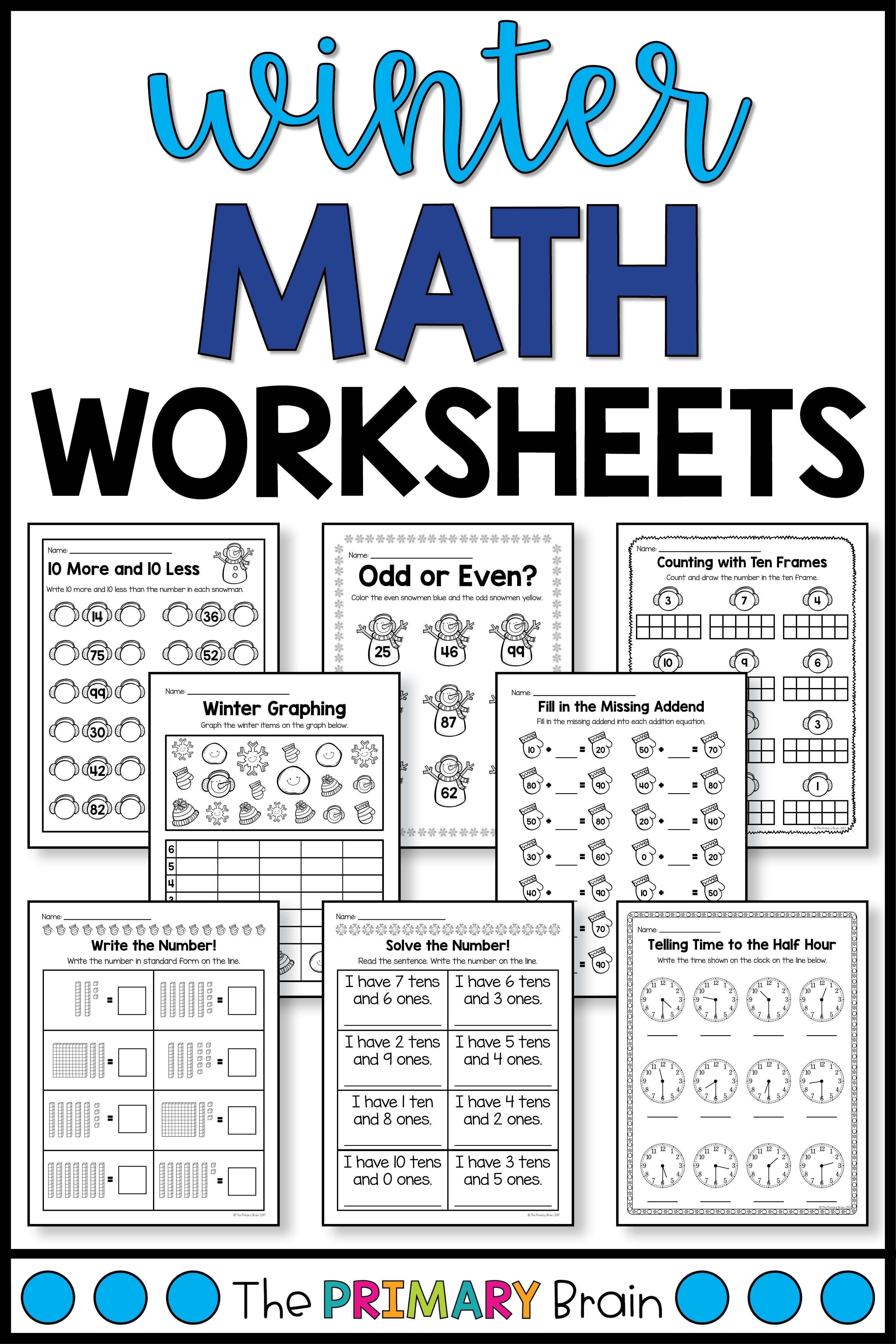 Winter Math Worksheets Printable Activities Winter Math Worksheets Math Worksheets First Grade Math Worksheets