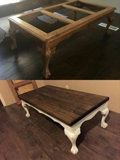 redo coffee table with wooden top instead of glass | craft ideas
