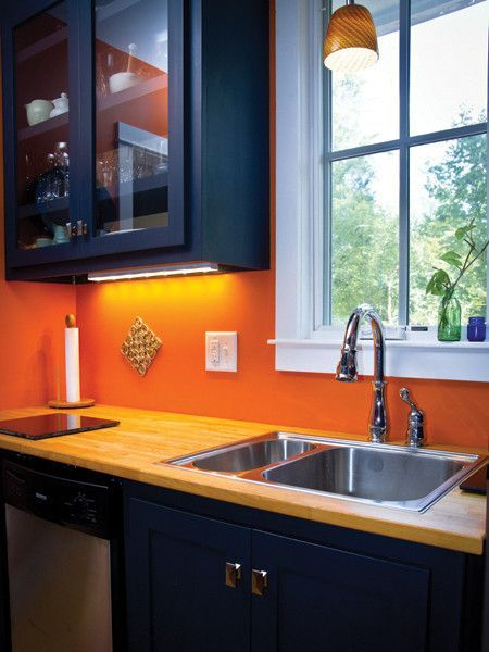 New Modern Orange And Navy Kitchen Blue Orange Kitchen, Navy Kitchen,  Orange Kitchen Decor