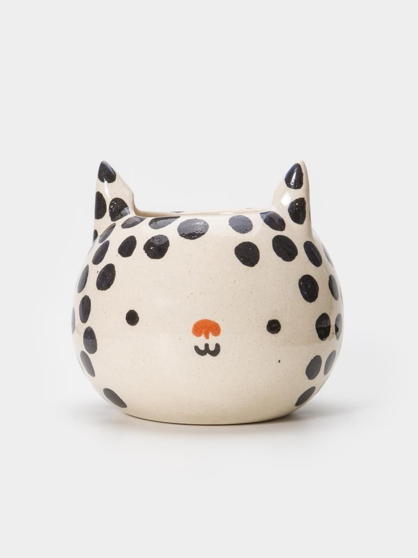 Vaso Artesanal Gato Dots Preto | Collector55 - Loja de Decoração Online