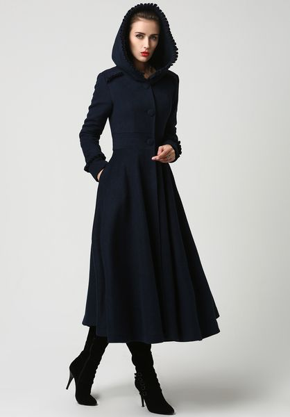 Walkmantel Wollmantel mit Kapuze blau | Shirt dress, Coat