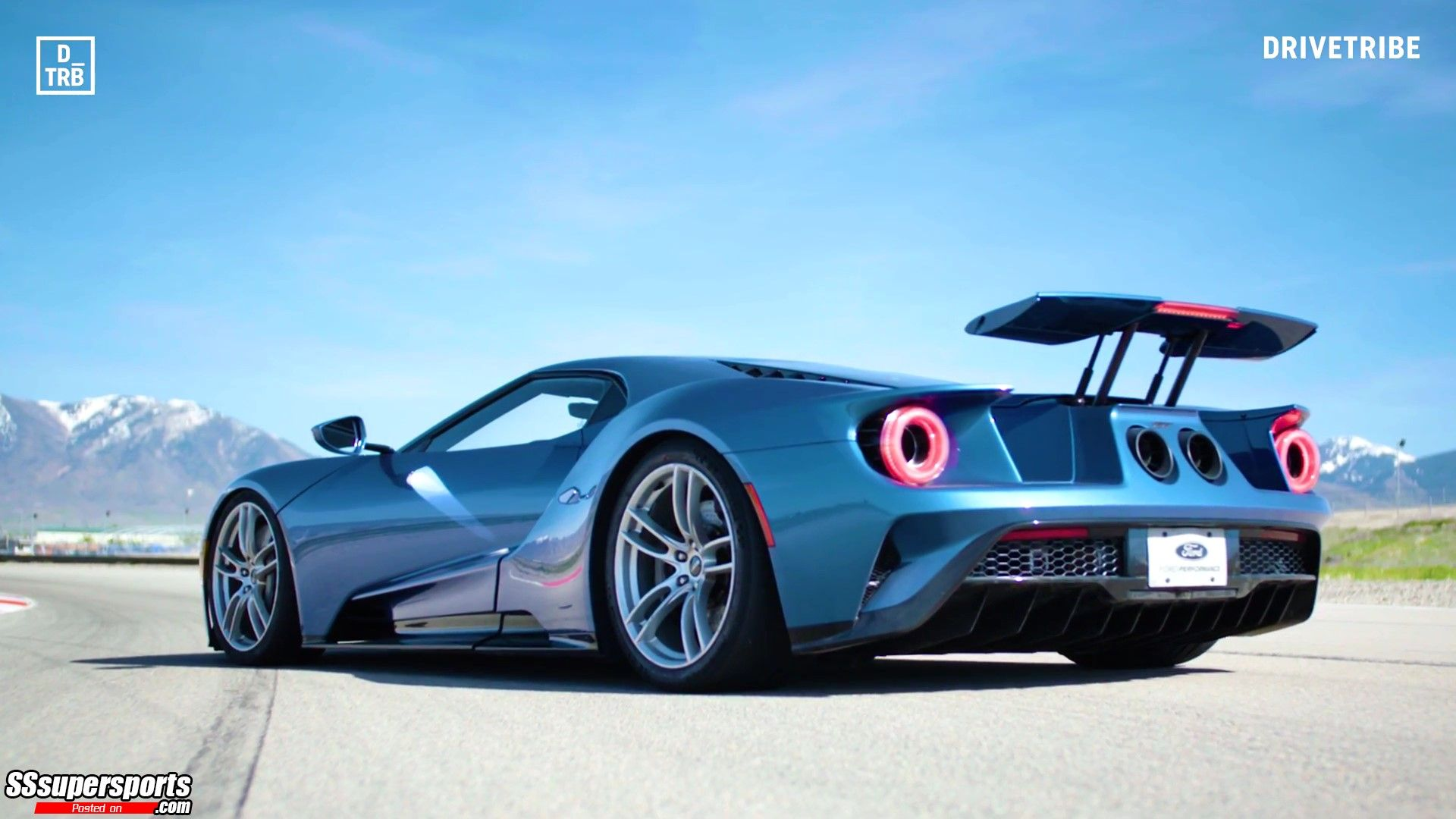 8 Blue Ford Gt Rear Side View Wing Up Sssupersports Com Ford Gt Super Cars Ford