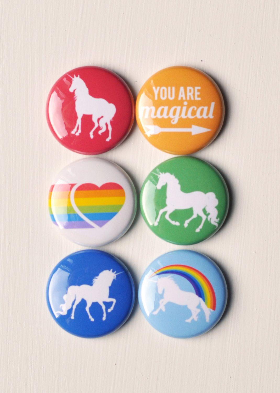 Set of 6 Rainbows & Unicorns Craft Badges by PandaEightDesigns, $4.99